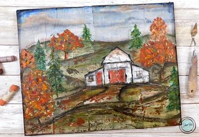 """Choices"", fall barn mixed media original 14x11"