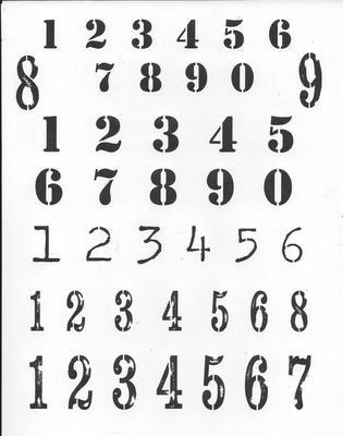 Numbers 1 Stencil 12x16