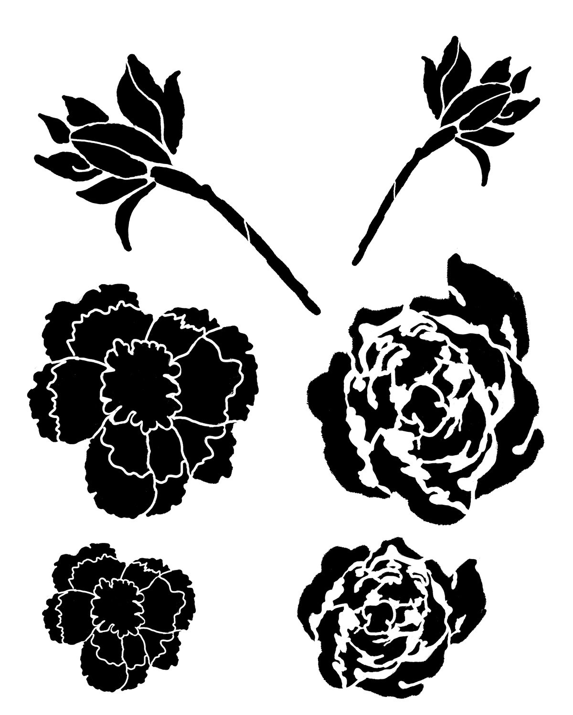 Flower Gang 5 stencil 8x10
