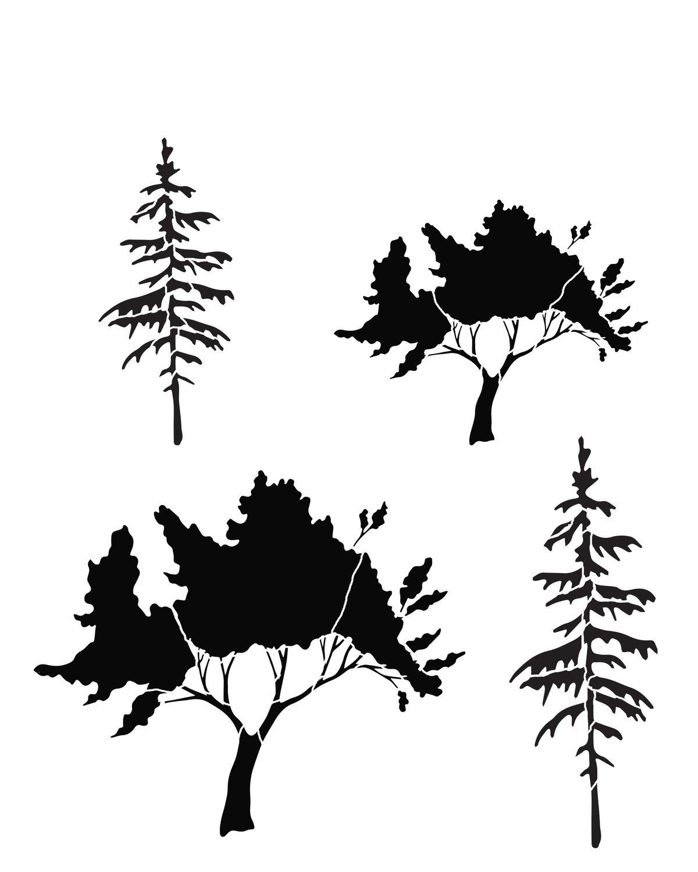 Tree 3 stencil 8x10