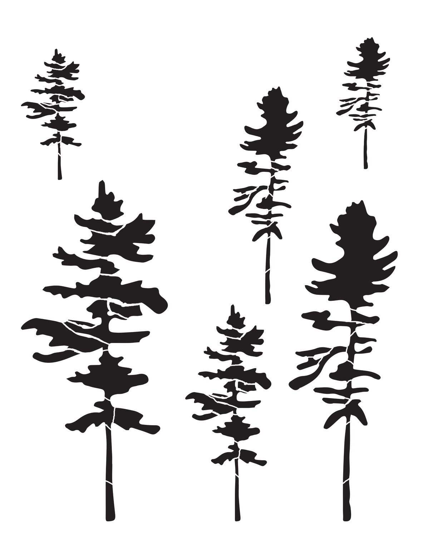 Trees 2 stencil 8x10