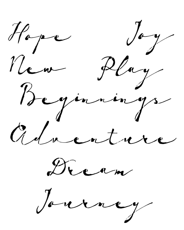 Vintage script stencil 8x10