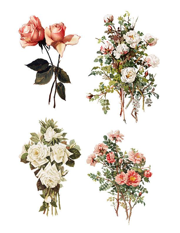 Vintage Floral collage pak Sunday inspiration 5 pages 7-2-17 instant download