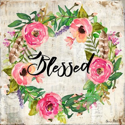 """""""Blessed"""" floral wreath Print on Wood and Print to be Framed"""
