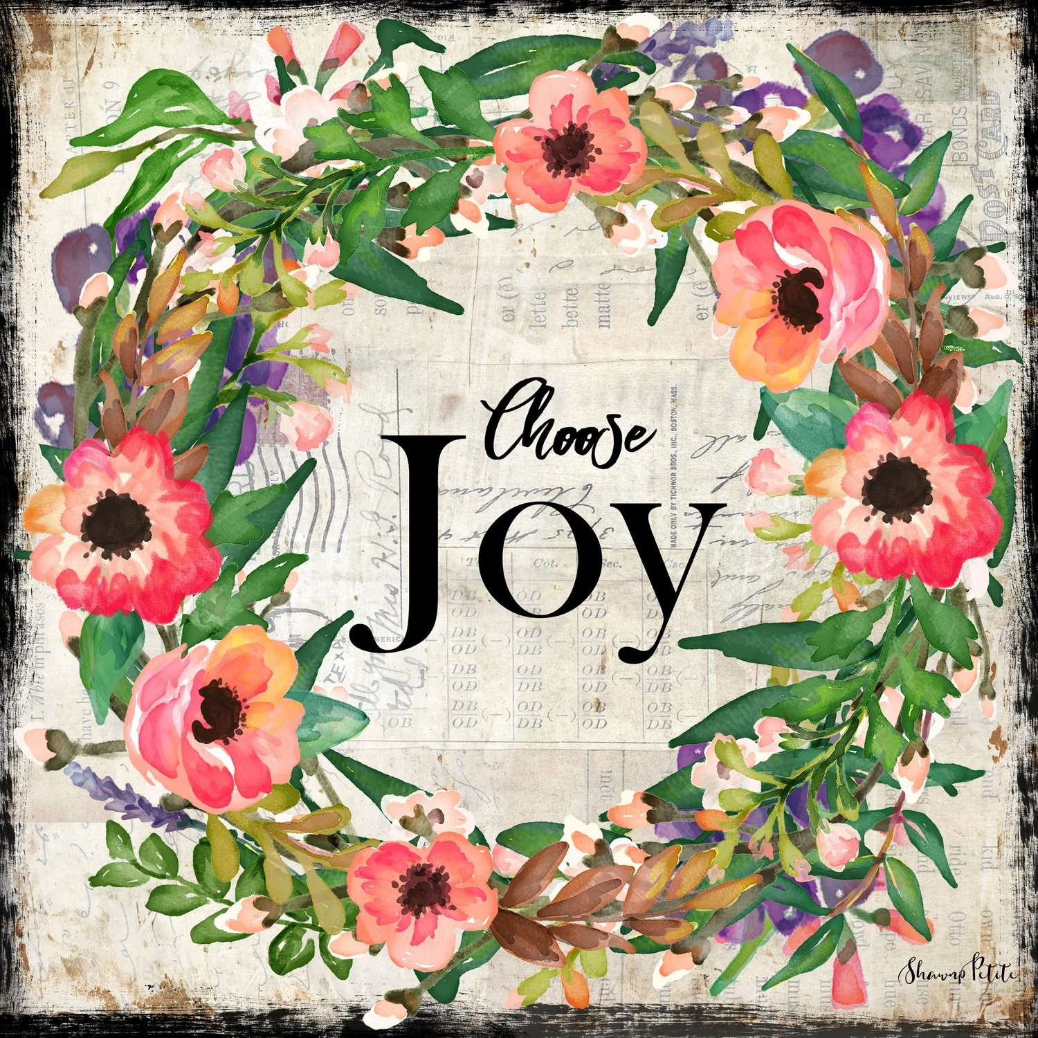 """Choose Joy"" wreath Print on Wood and Print to be Framed"