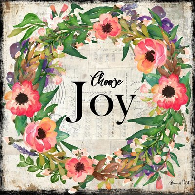 """""""Choose Joy"""" wreath Print on Wood and Print to be Framed"""