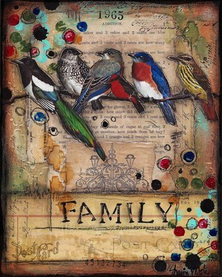 """""""Family"""" birds Print on Wood and Print to be Framed"""