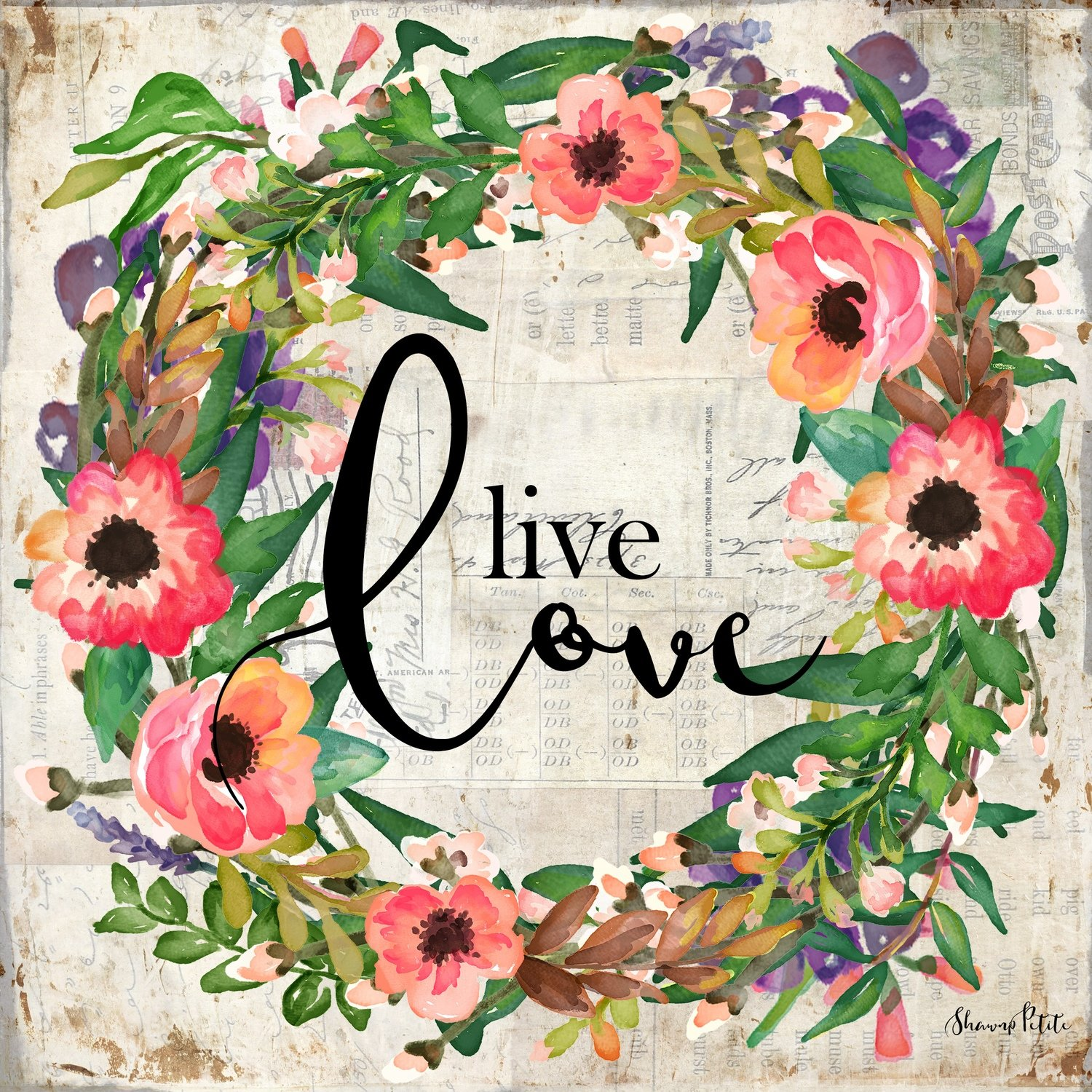 """Live Love"" wreath Print on Wood and Print to be Framed"