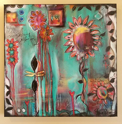 """Wish"" 24x24 mixed media Original on gallery depth canvas"