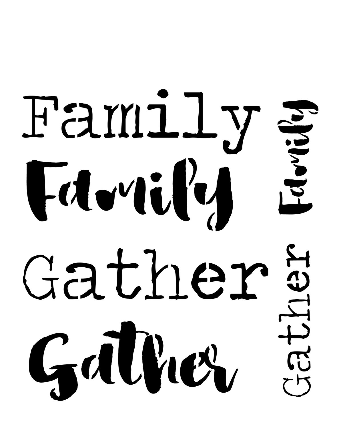 Gather family words 12x16 stencil