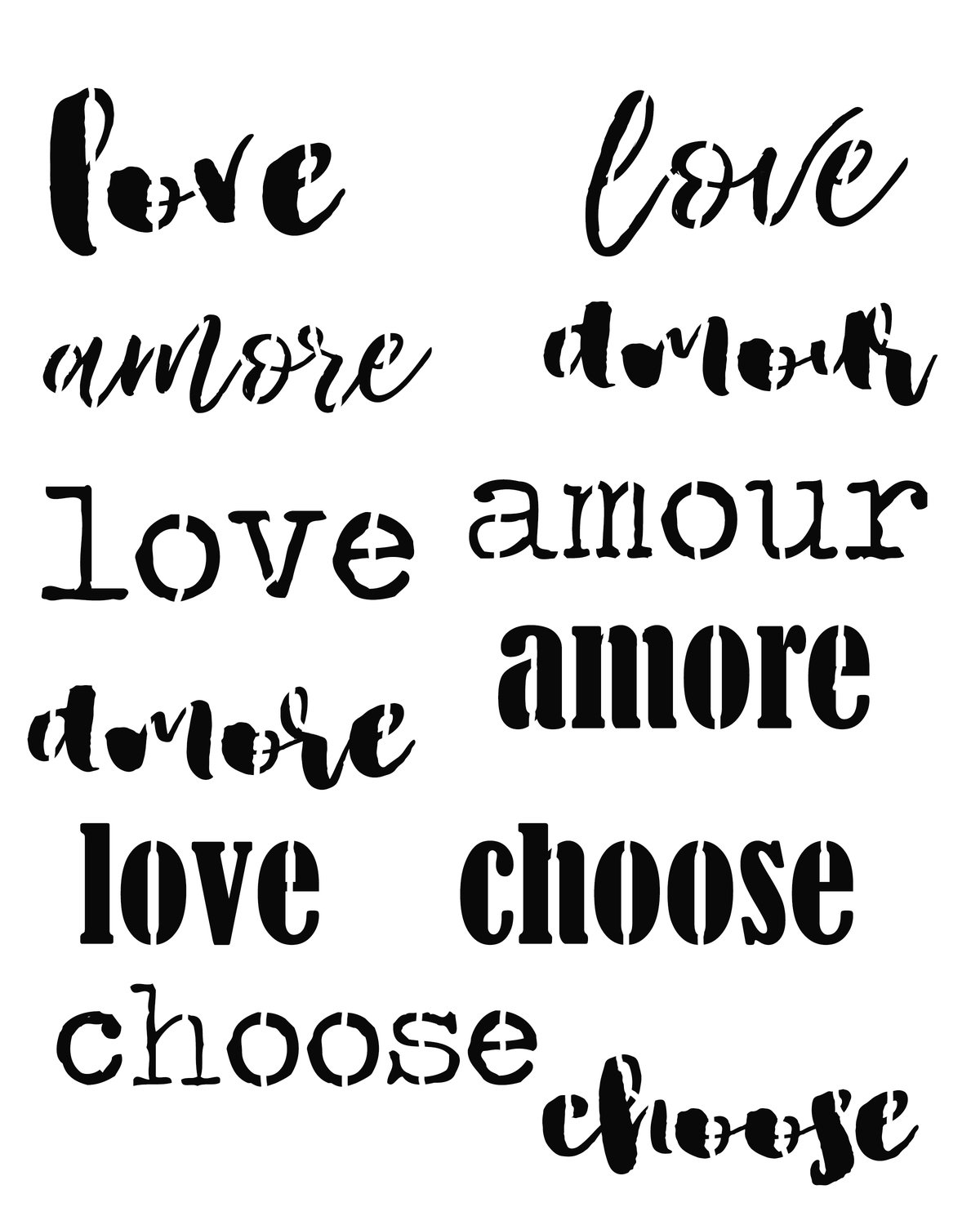 Words of love stencil 8x10
