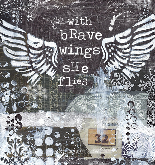 """With brave wings, she Flies"" Print on Wood and Print to be Framed"