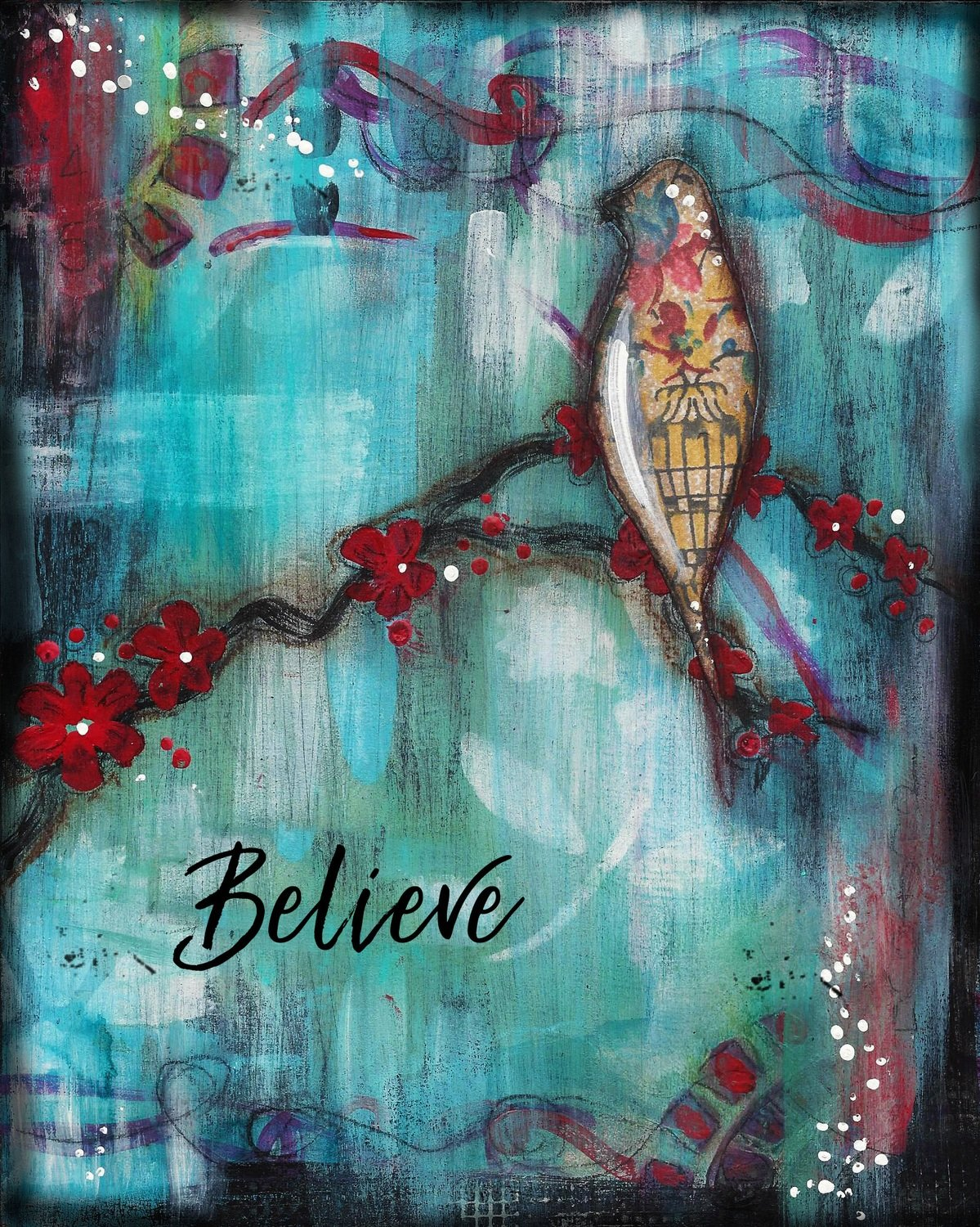 """Believe"" bird Print on Wood and Print to be Framed"