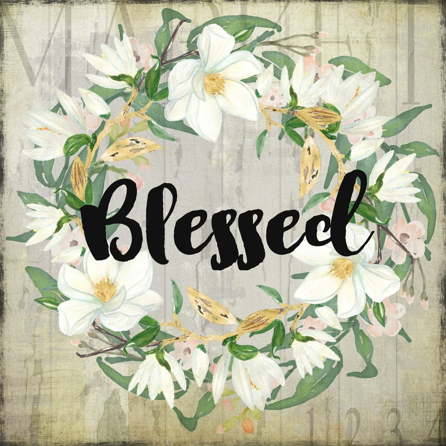 """Blessed"" wreath neutral Print on Wood and Print to be Framed"