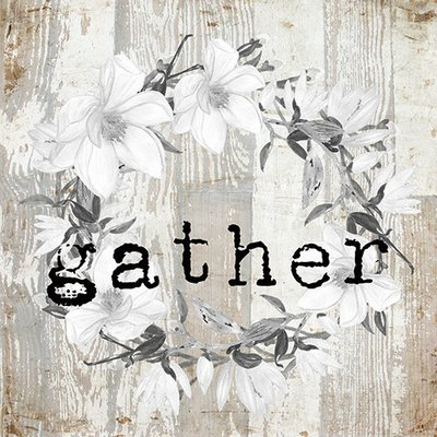 """""""Gather"""" white wreath neutral wood, Print on Wood and Print to be Framed"""