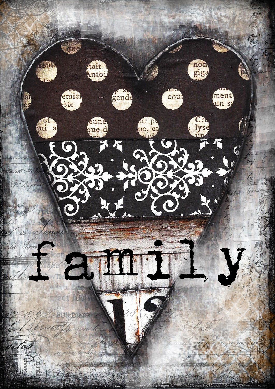 """""""Family"""" black and white heart, Print on Wood and Print to be Framed"""
