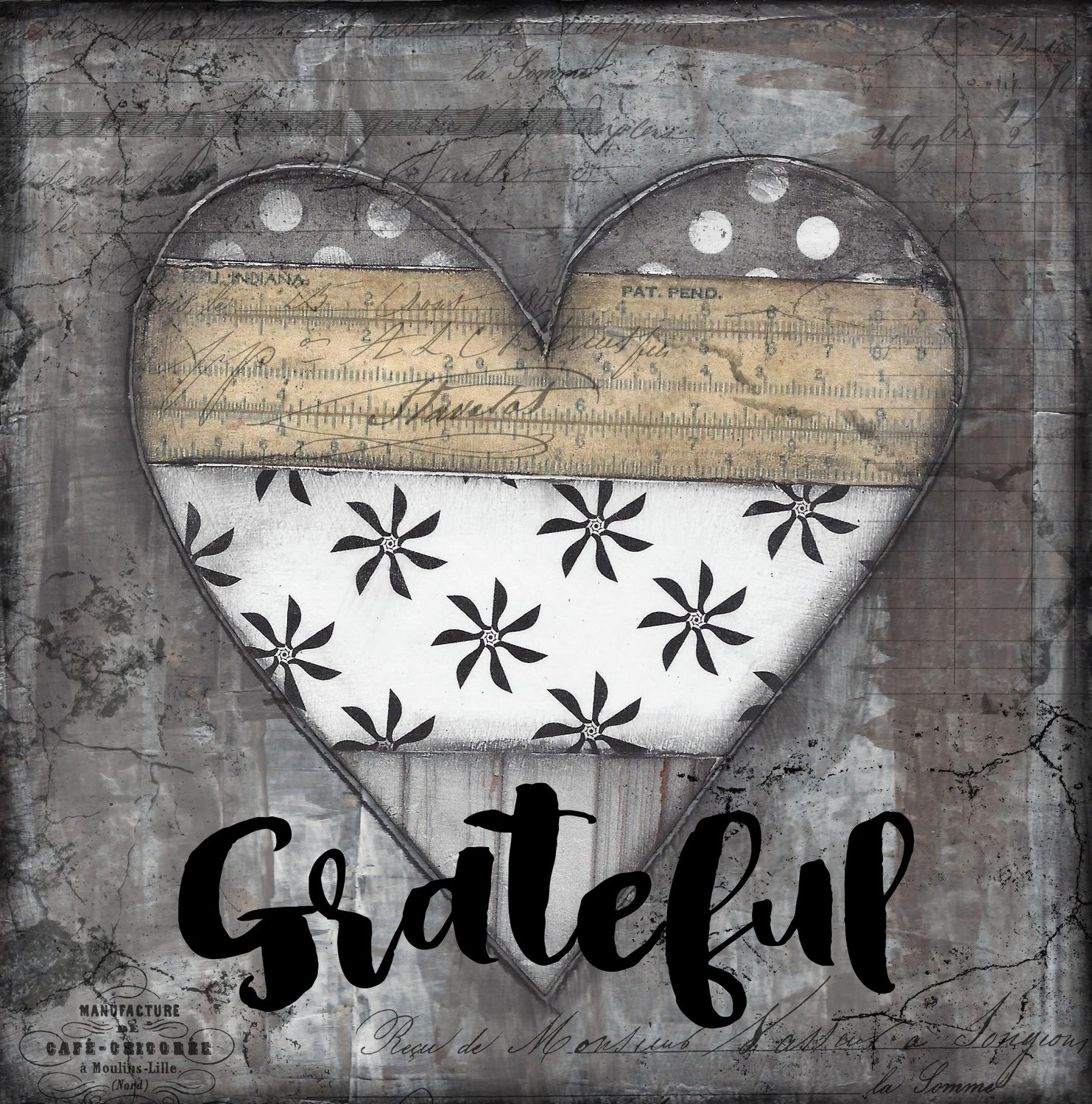 """Grateful"" black, white vintage heart, Print on Wood and Print to be Framed"
