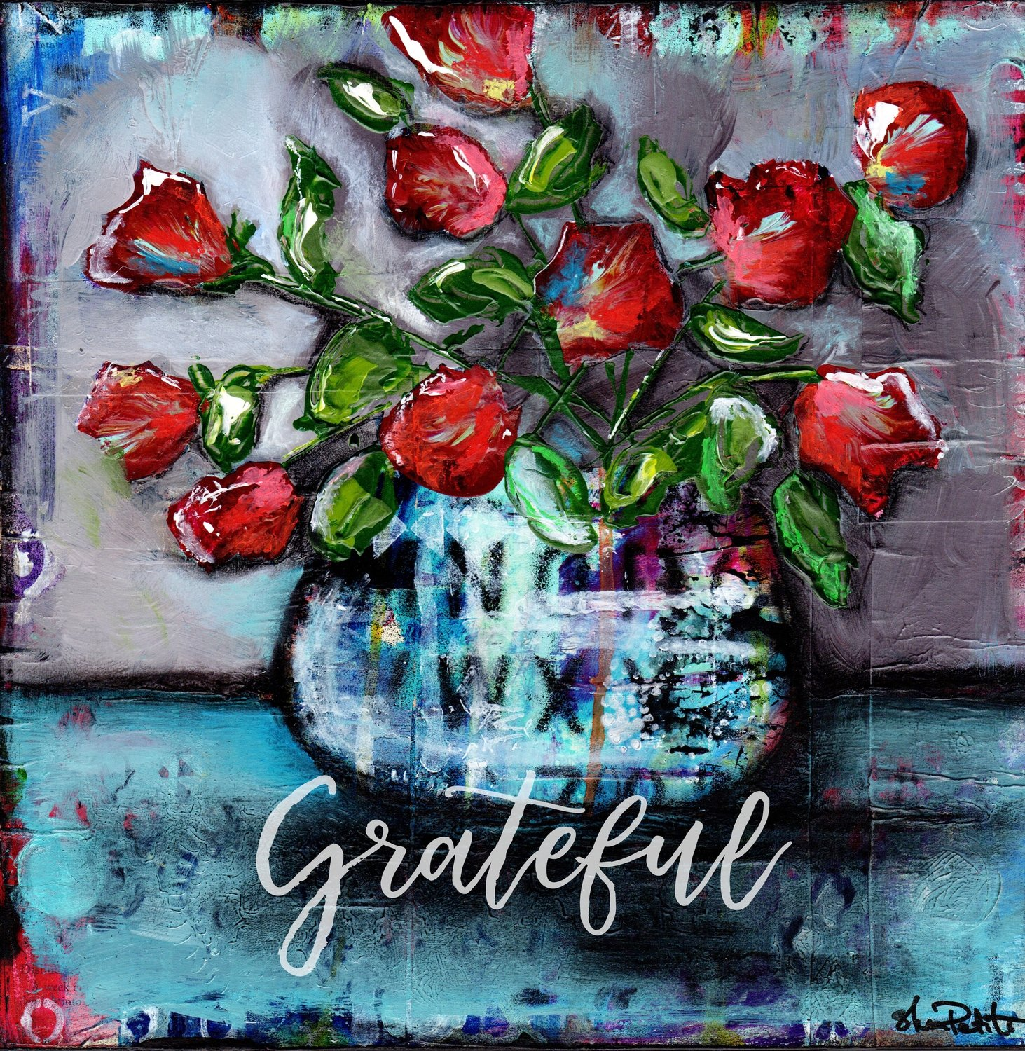 """Grateful"" grungy flower vase Print on Wood and Print to be Framed"