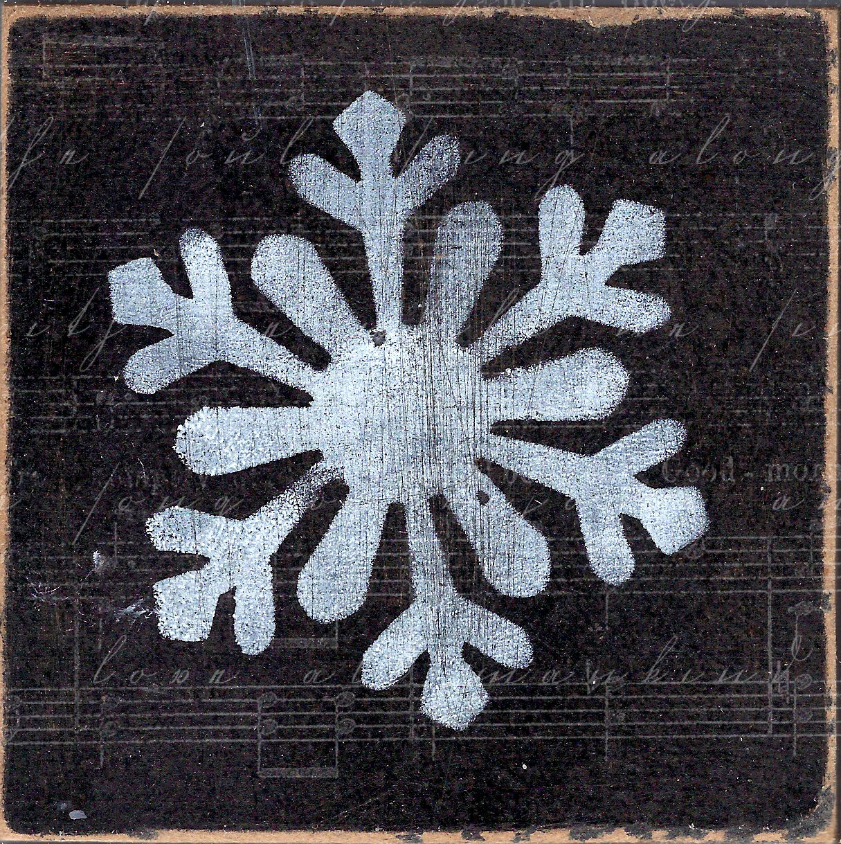 """""""Snowflake 1"""" black and white, Print on Wood and Print to be Framed"""