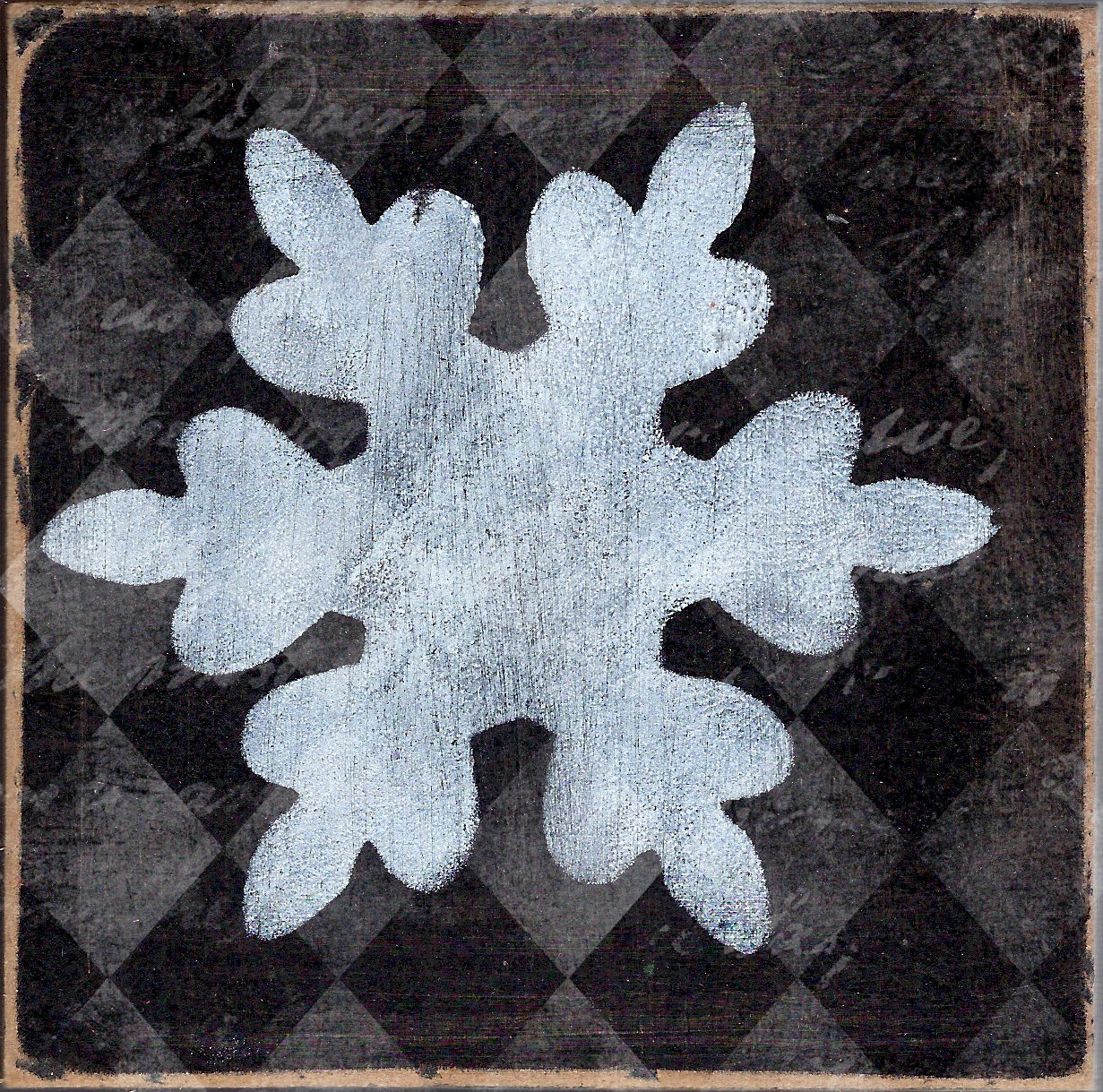 """""""Snowflake 2"""" black and white, Print on wood and Print to be Framed"""