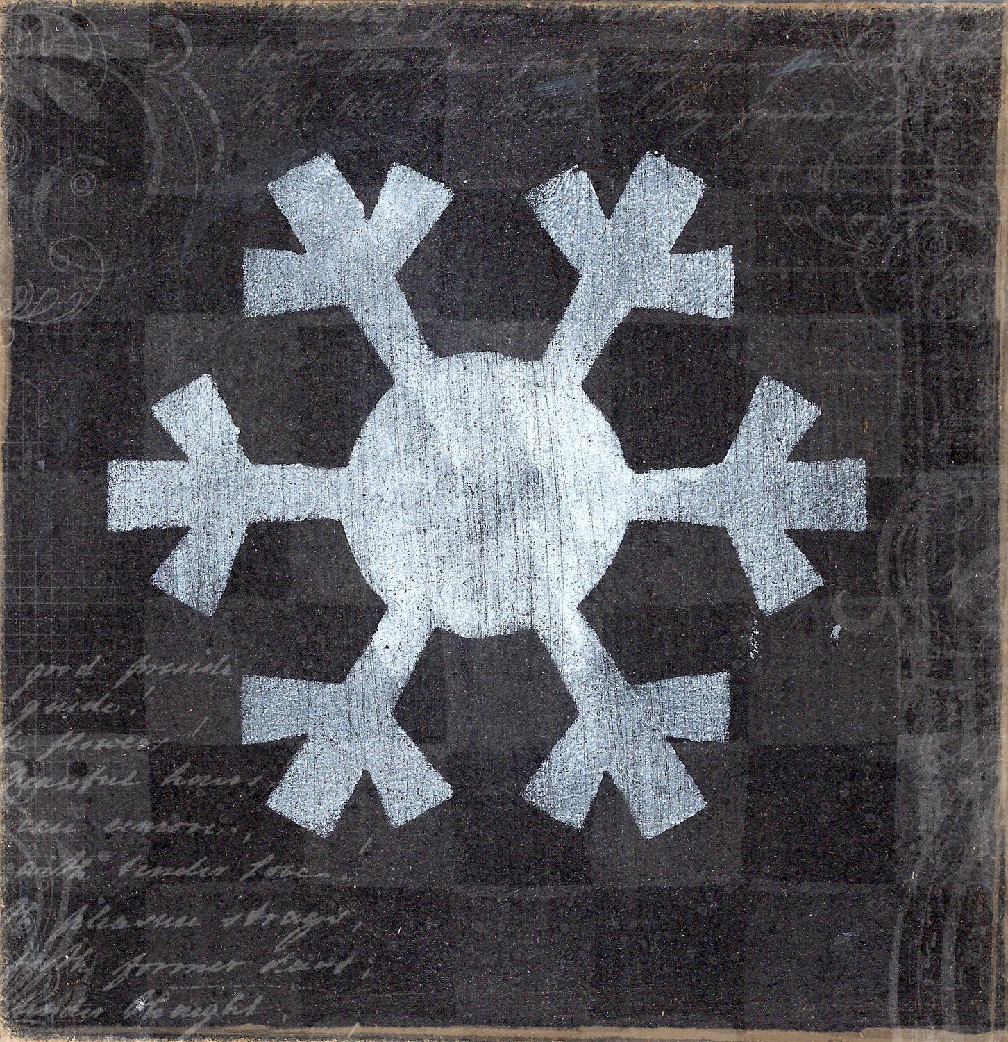 """Snowflake 3"" black and white, Print on Wood and Print to be Framed"