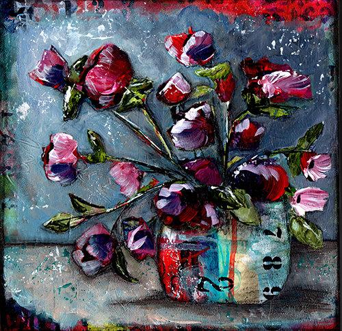 """Grungy floral"" bright number 12x12 mixed media original"