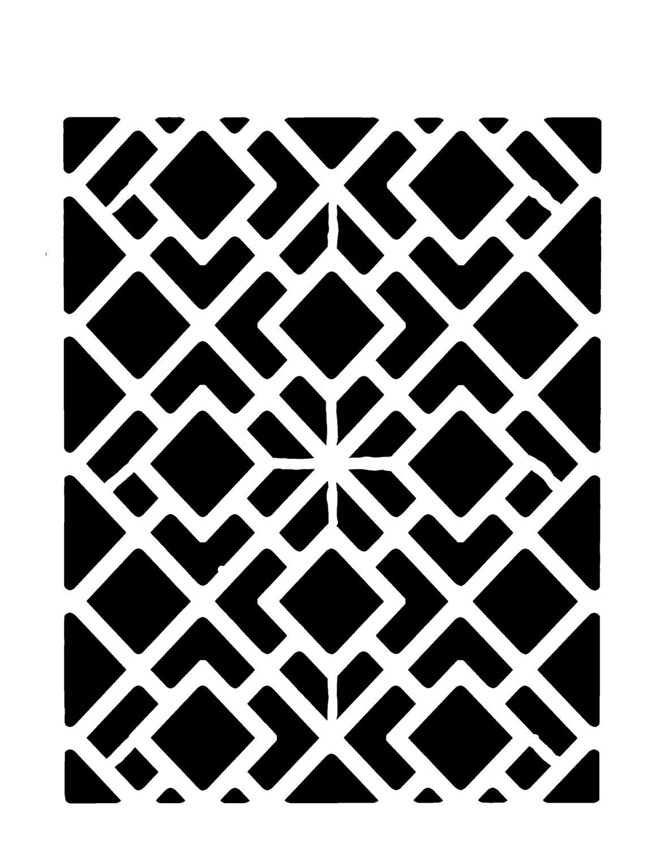 Geometric squares stencil 8x10