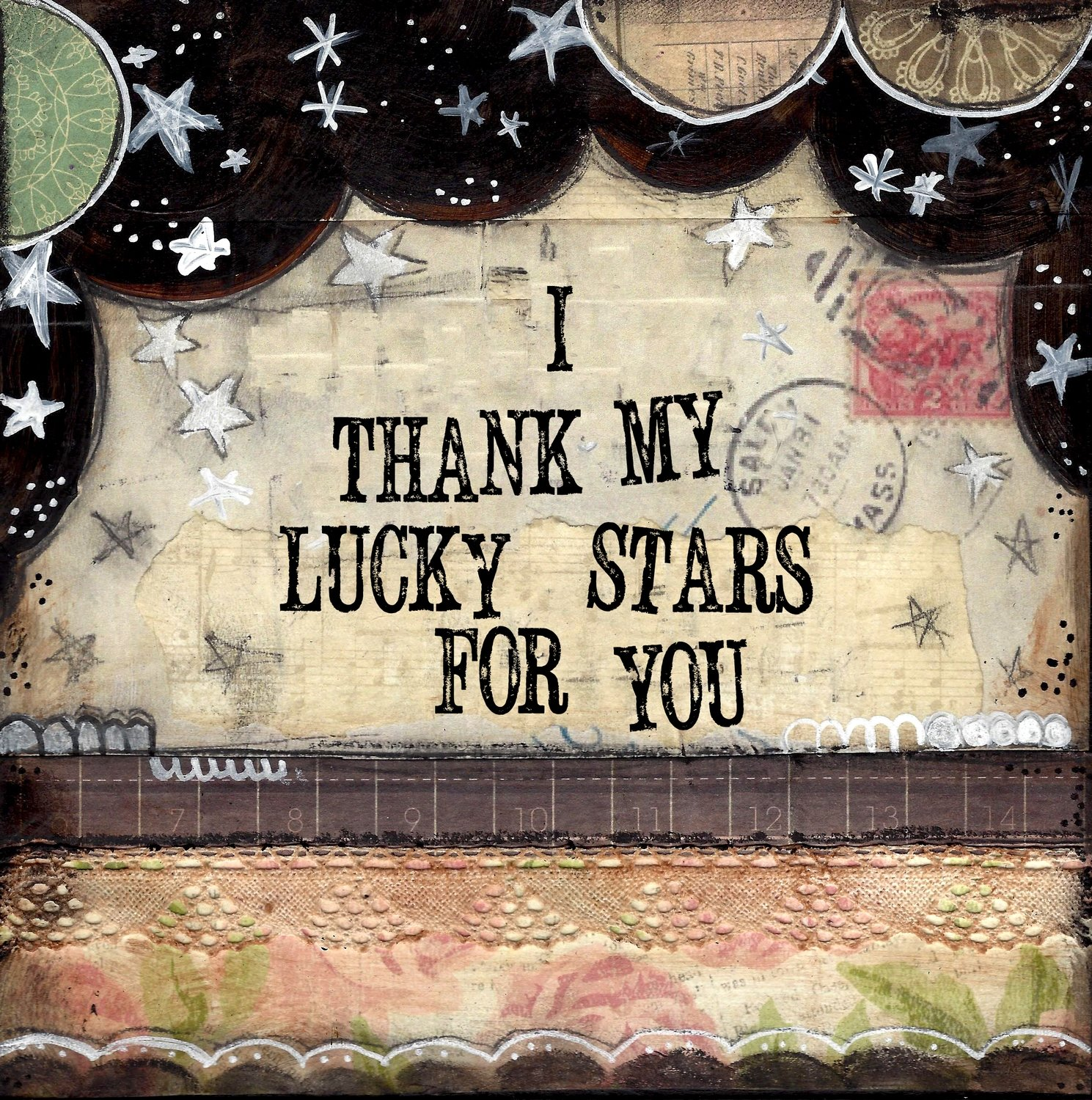 """I thank my lucky starts for You"" Print on Wood and Print to be Framed"