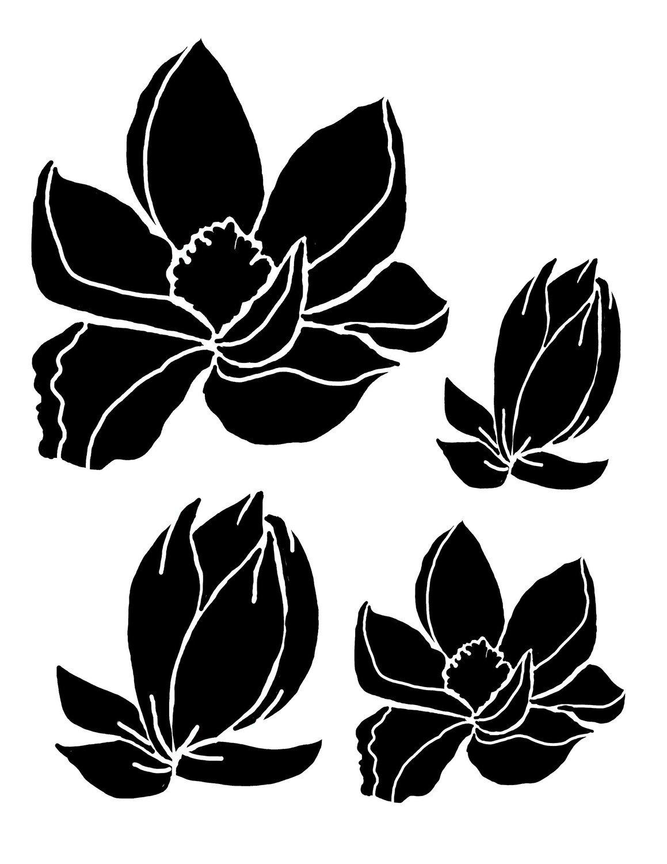Magnolias 12x16 stencil