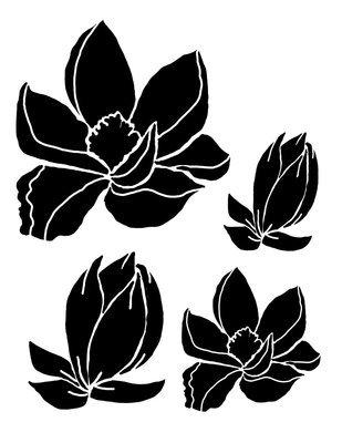 Magnolias 12x12 stencil