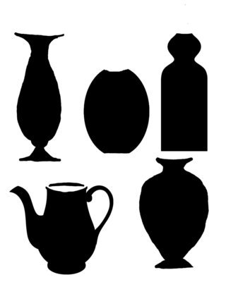 Vases 1 with masks stencil 8x10