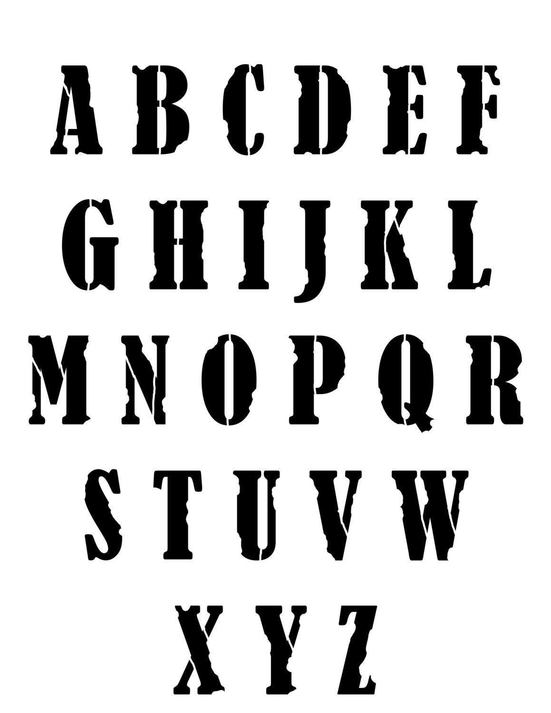 Grunge font stencil 8x10