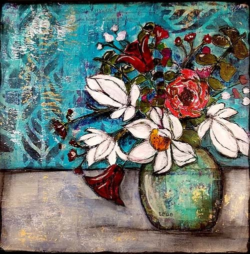"""True"" flower vase Print on Wood and Print to be Framed"