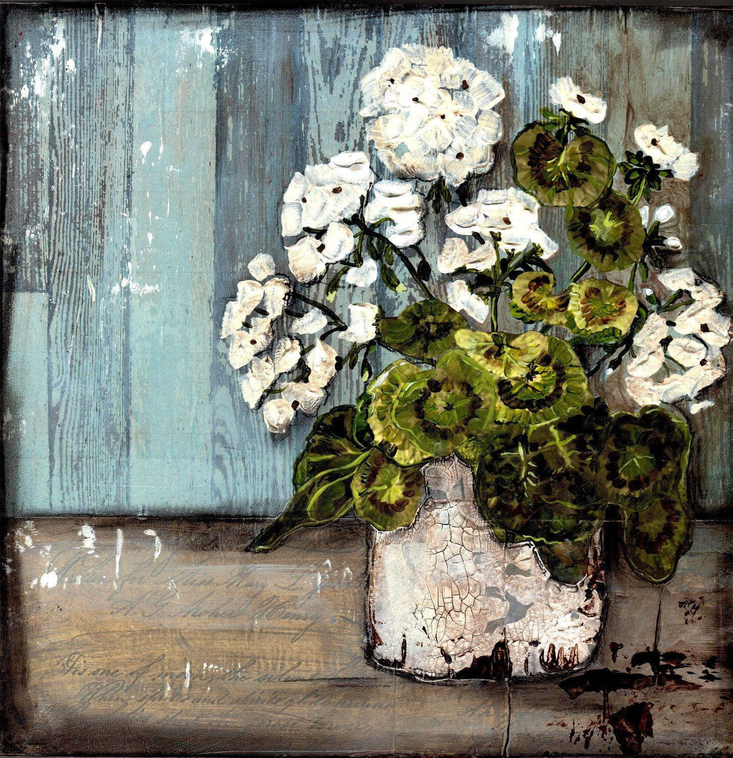 """""""Grungy Geranium"""" Print on Wood and Print to be Framed"""