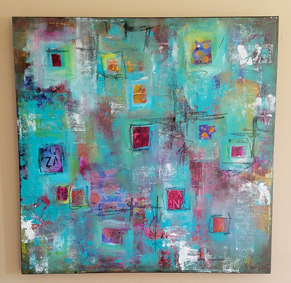 """""""Boxed in"""" mixed media abstract 24x24"""