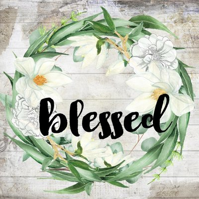 """""""Blessed"""" eucalyptus wreath, Print on Wood and Print to be Framed"""