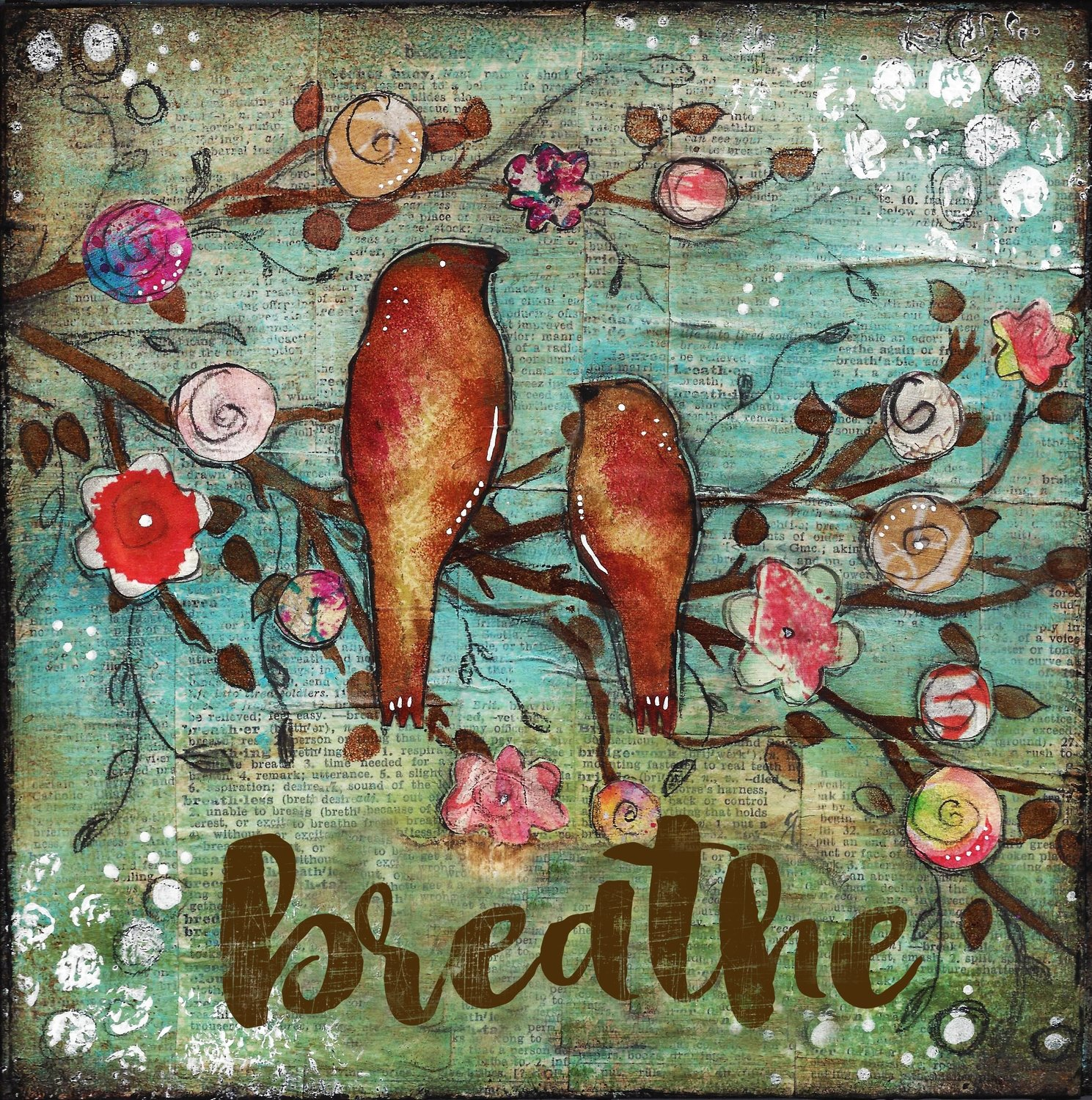 """Breathe"" bird duo Print on Wood and Print to be Framed"