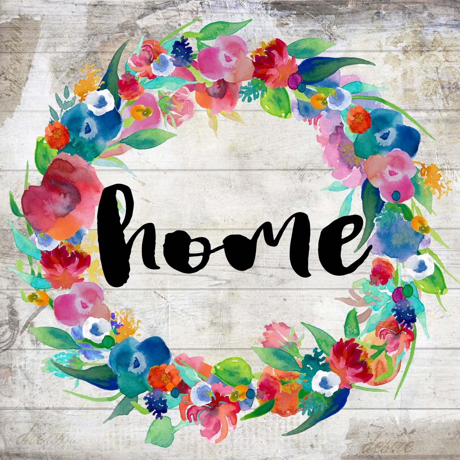 """Home"" bright flower wreath Print on Wood and Print to be Framed"