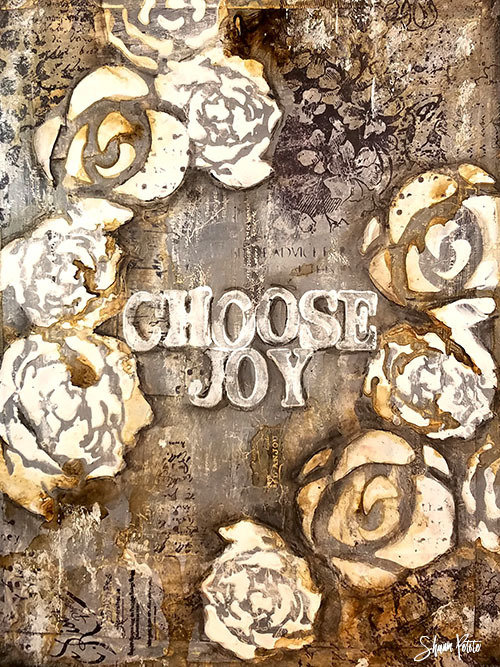 """Choose Joy"" white flowers, Print on Wood and Print to be Framed"