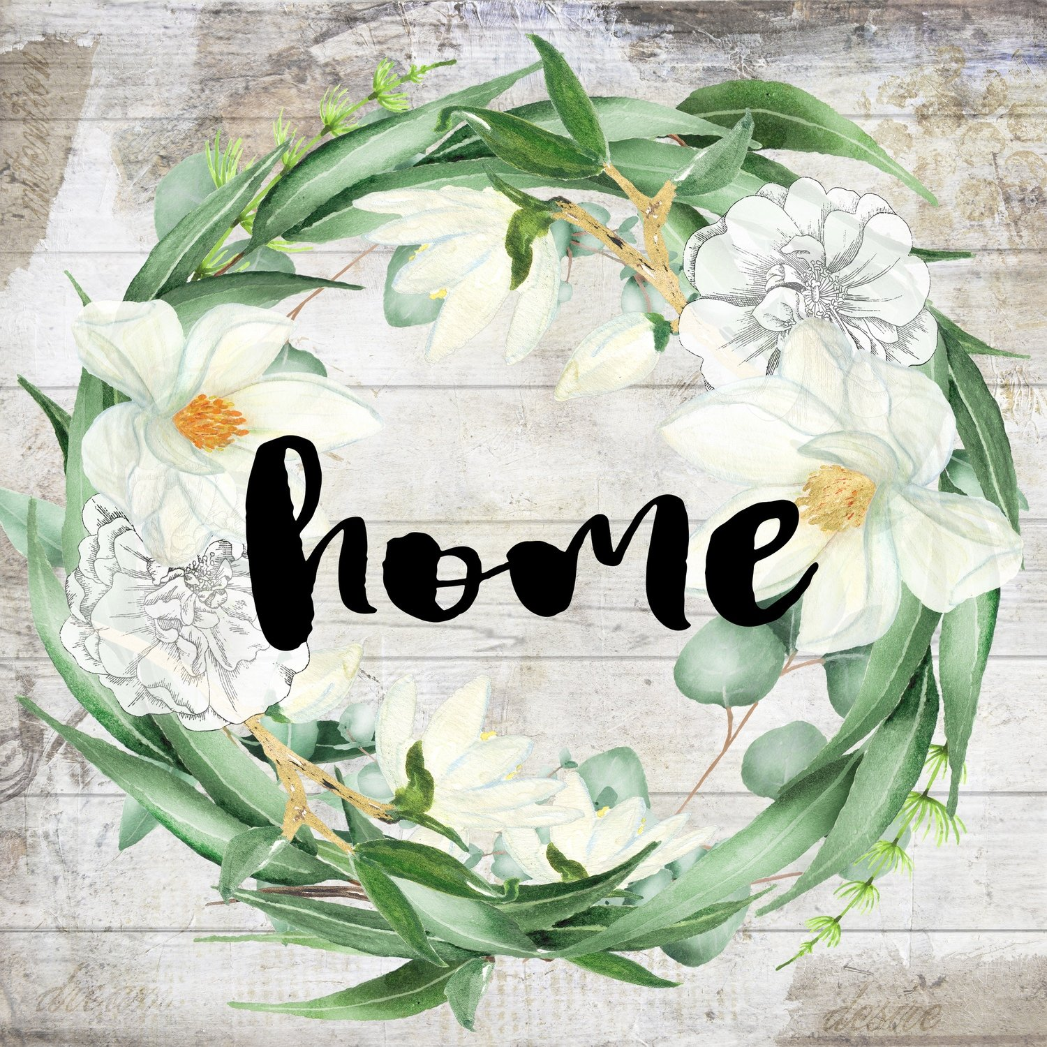 """Home"" eucalyptus wreath Print on Wood and Print to be Framed"