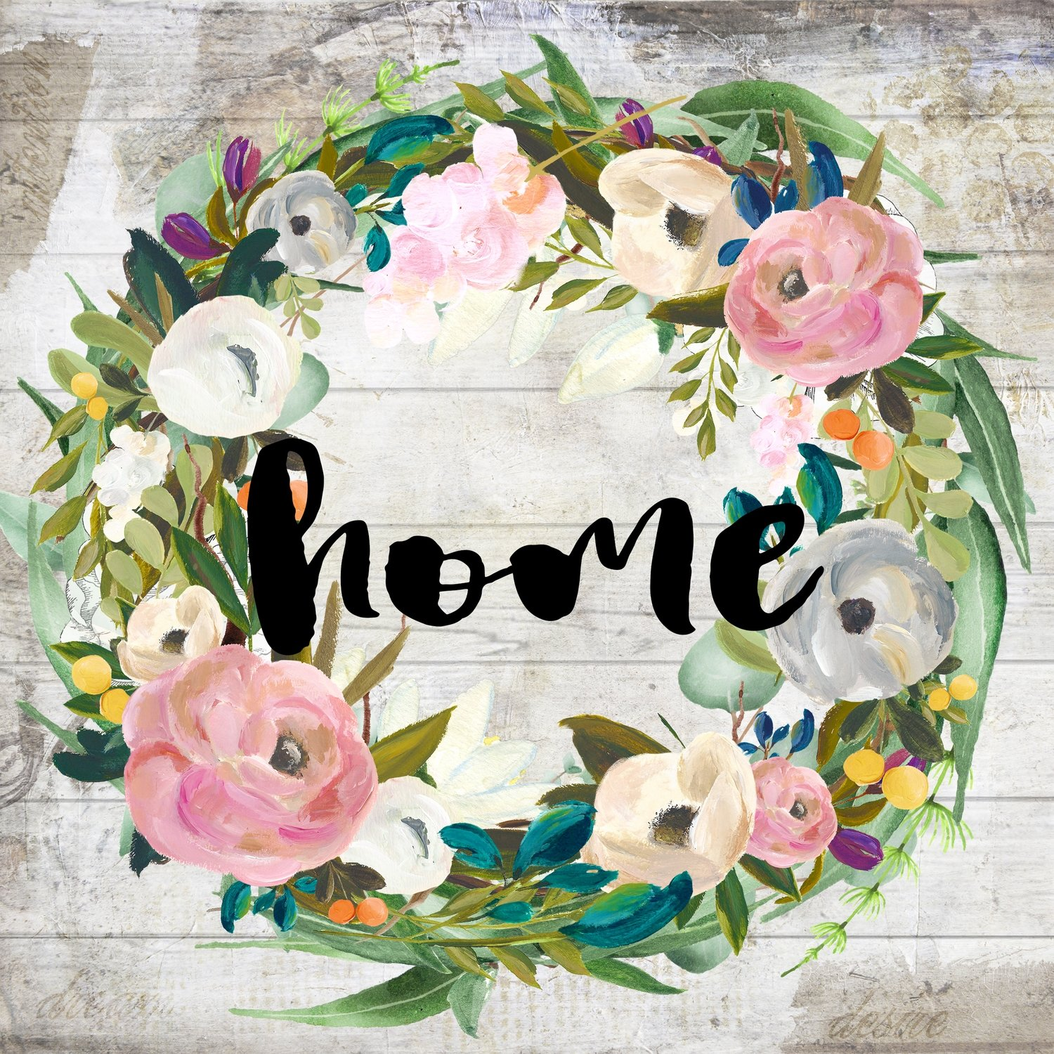 """Home"" muted flower wreath Print on Wood and Print to be Framed"