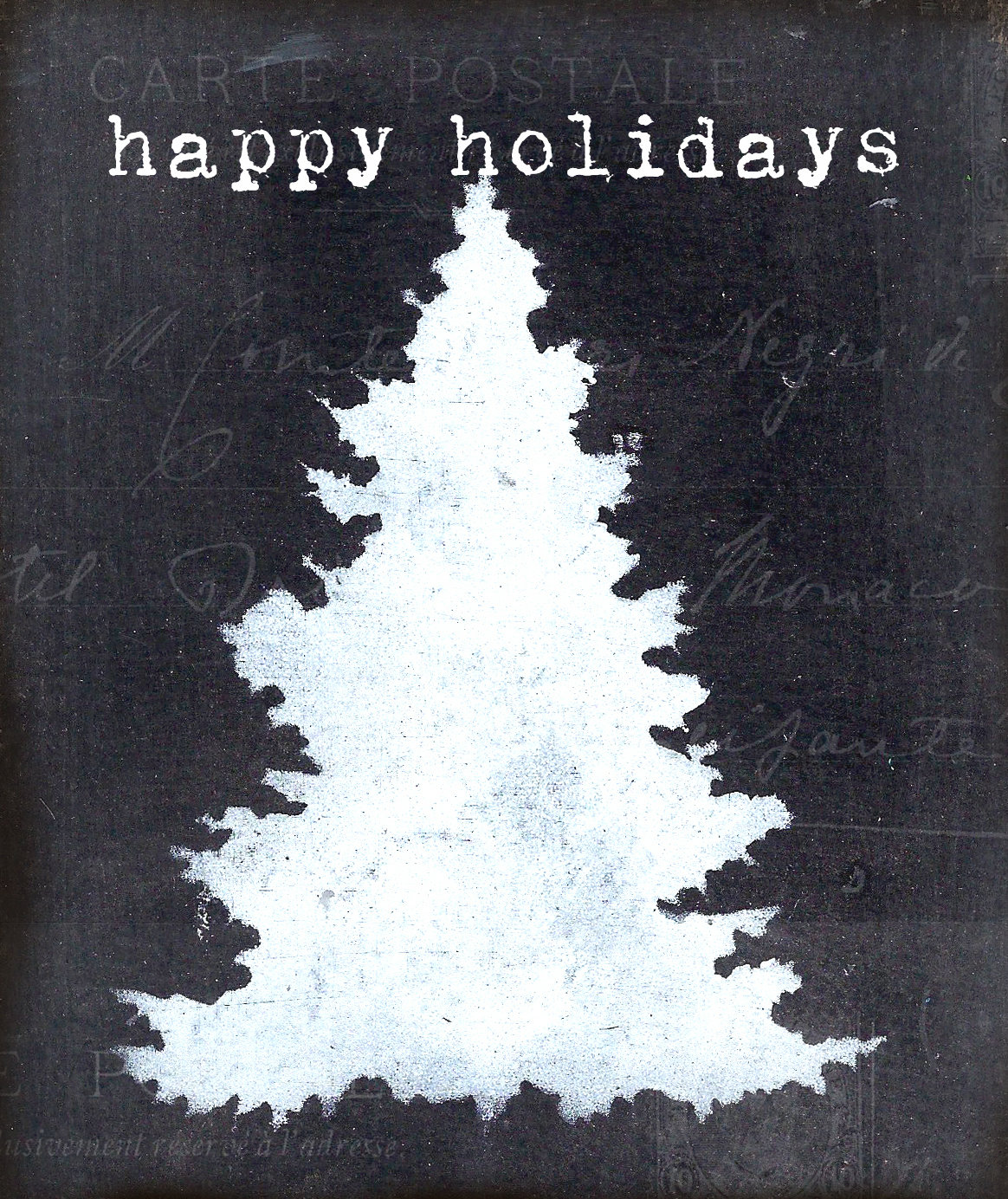 """""""Happy Holidays"""" black and white Christmas tree Print on Wood and Print to be Framed"""