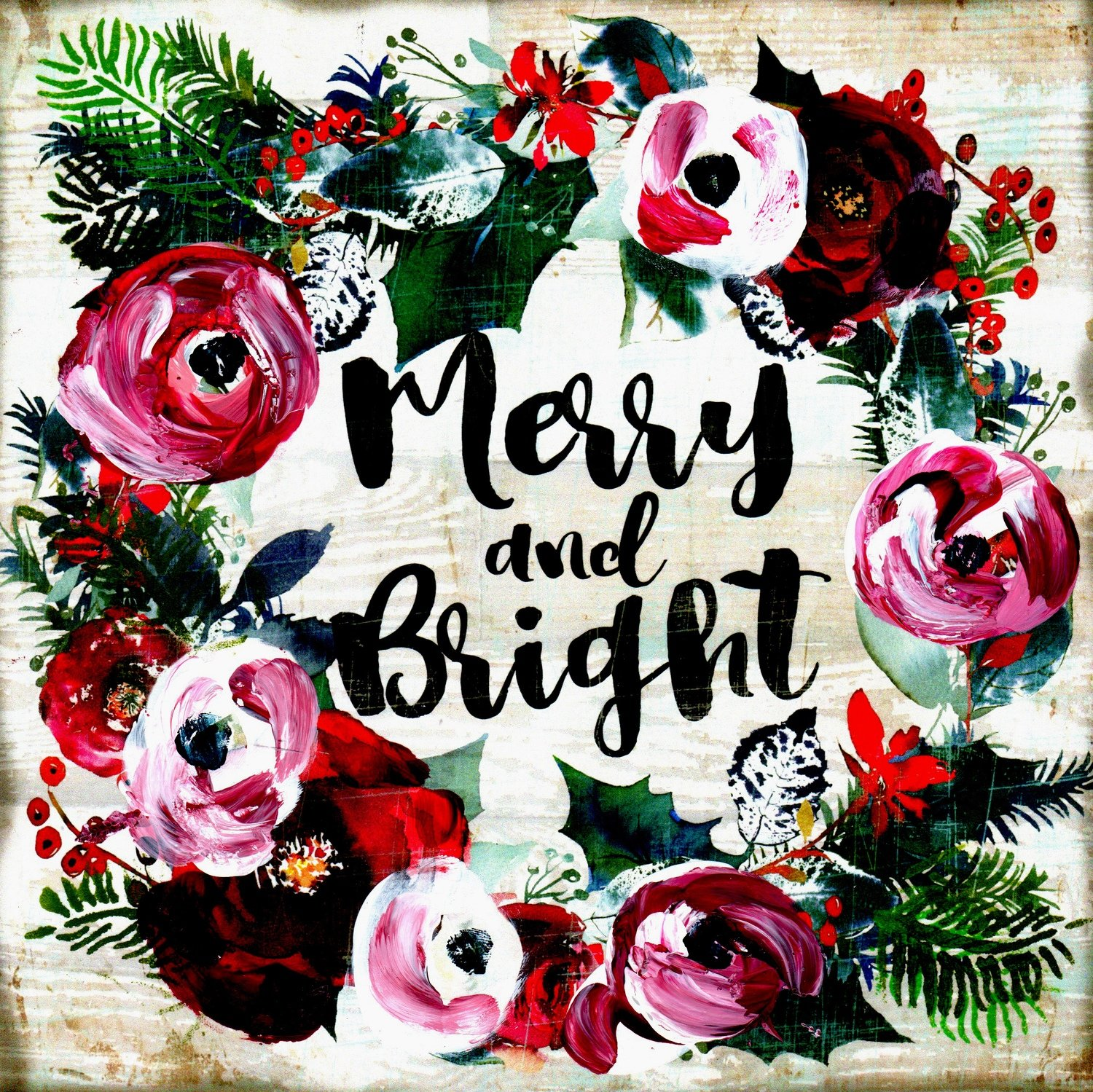 """""""Merry and Bright"""" Christmas wreath Print on Wood and Print to be Framed"""