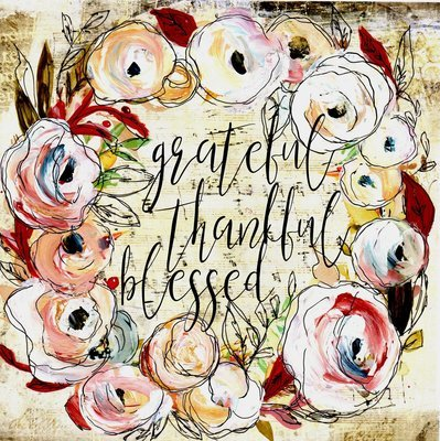 """Grateful Thankful Blessed"" wreath Print on Wood and Print to be Framed"