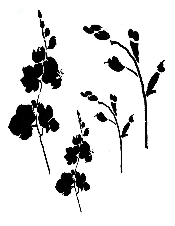 Flower silhouette 1 12x16 stencil