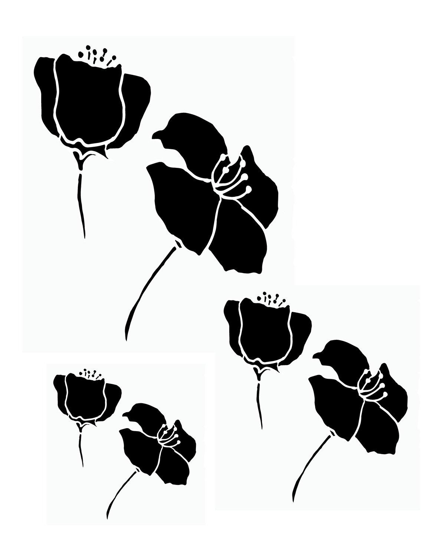 Flower silhouette 2 12x16 stencil