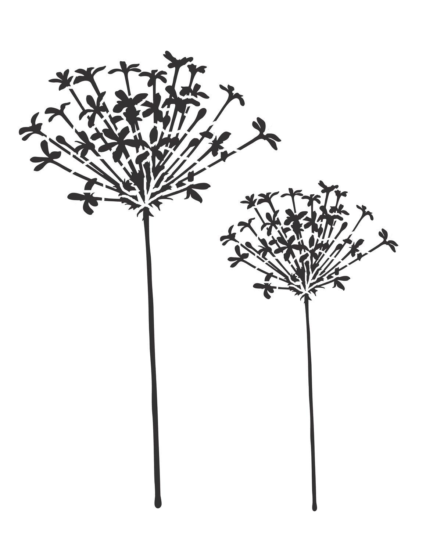 Flower silhouette 3 stencil 8x10