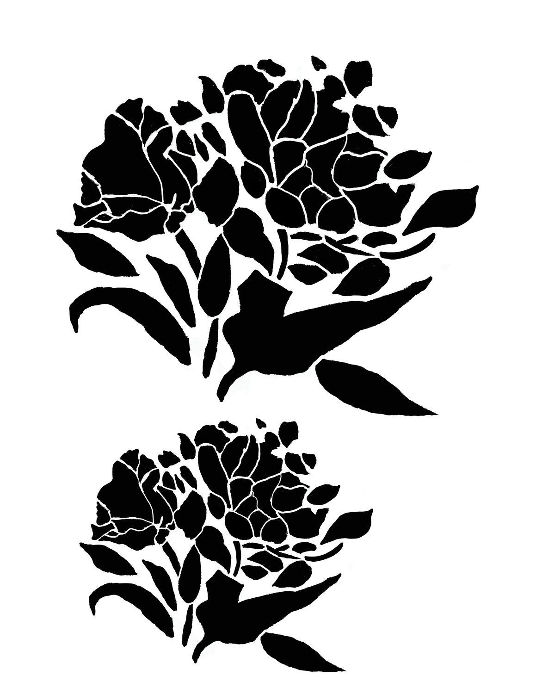 Flower silhouette 4 stencil 8x10