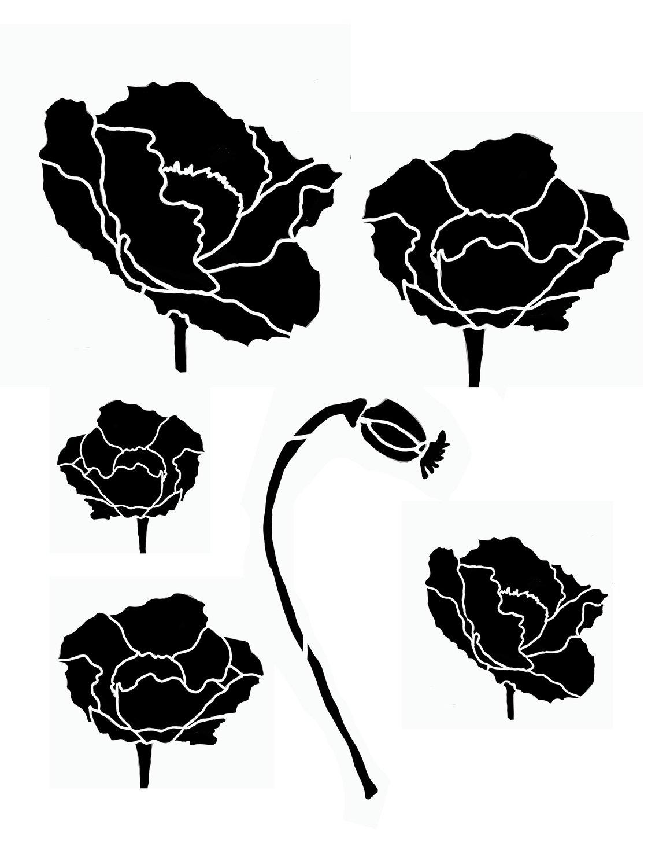 Flower silhouette 5 stencil 8x10