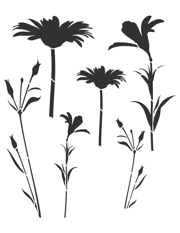 Flower silhouette 6 12x16 stencil